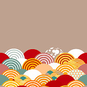 fish scales simple Nature background with japanese sakura flower, rosy pink Cherry, wave circle pattern blue orange red burgundy colors card banner design on brown background. Vector