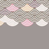 fish scales simple Nature background with japanese sakura flower, white Pink brown beige, wave circle pattern card banner design on grey background. Vector
