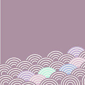 fish scales simple Nature background with japanese sakura flower, white Light blue green purple pink, wave circle pattern card banner design on lilac background. Vector