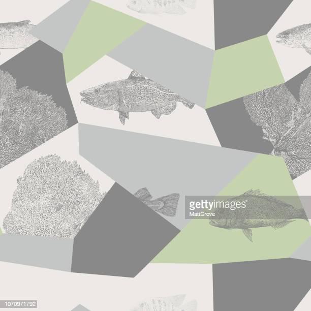 Fisch nahtlose wiederholen Muster