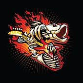 Fish skeleton flame