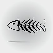 Fish skeleton painted with a brush. Abstract image. Isolated.
