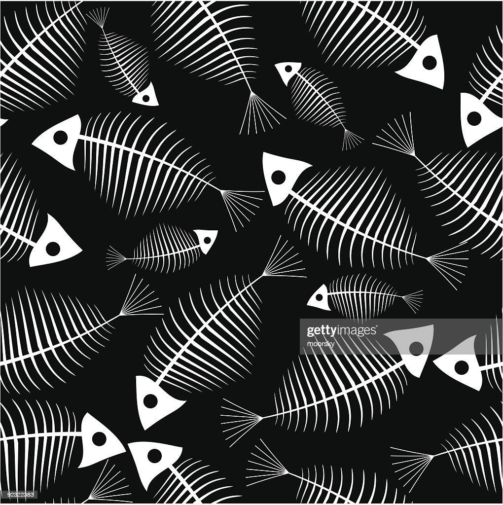 Fish skeleton seamless vector wallpaper : stock vector