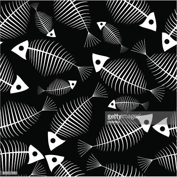 Fish skeleton seamless vector wallpaper