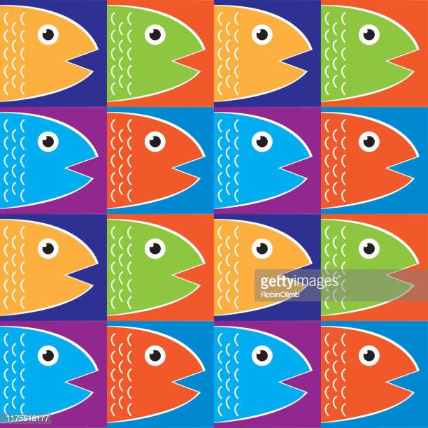 fish squares seamless pattern - natural arch stock illustrations, clip art, cartoons, & icons