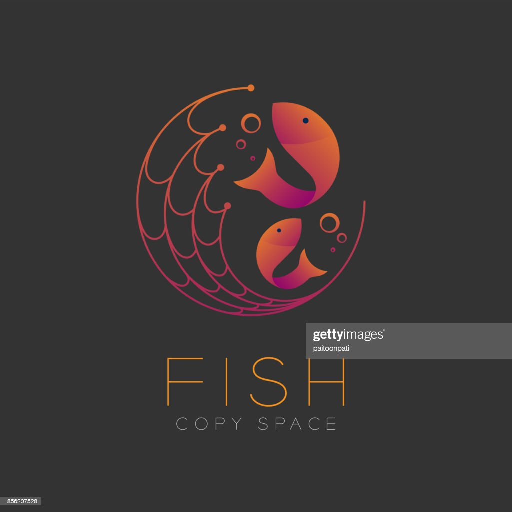 Fish symbol icon and fishing net, air bubble set orange violet gradient color design illustration isolated on dark background with Fish text and copy space, vector eps10