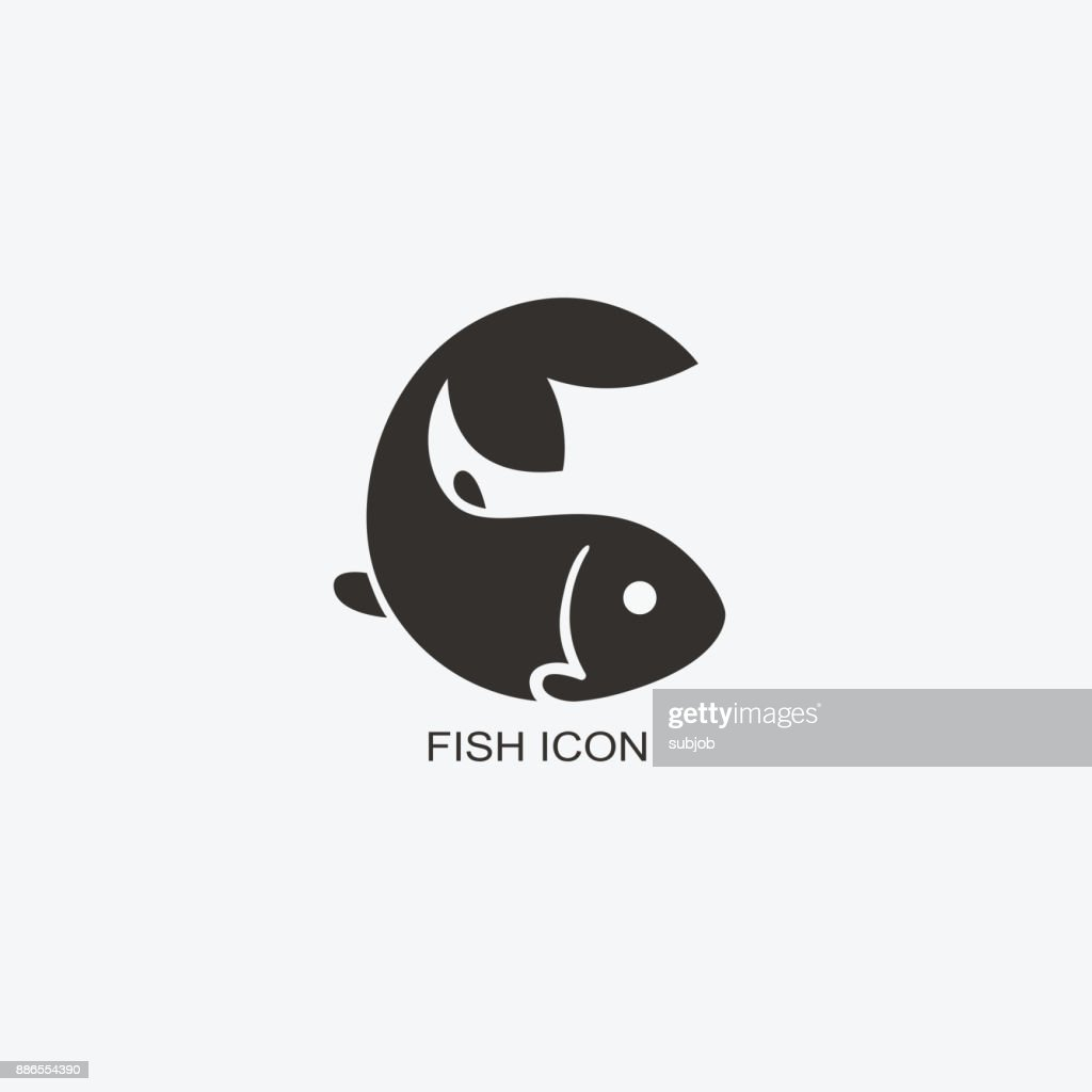 Fish template for design. Icon of seafood restaurant. Illustration of graphic flat style