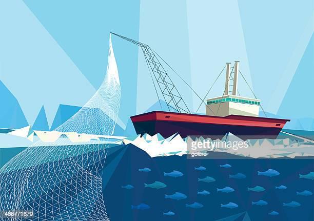 ilustraciones, imágenes clip art, dibujos animados e iconos de stock de arrastre de pescado - red de pesca