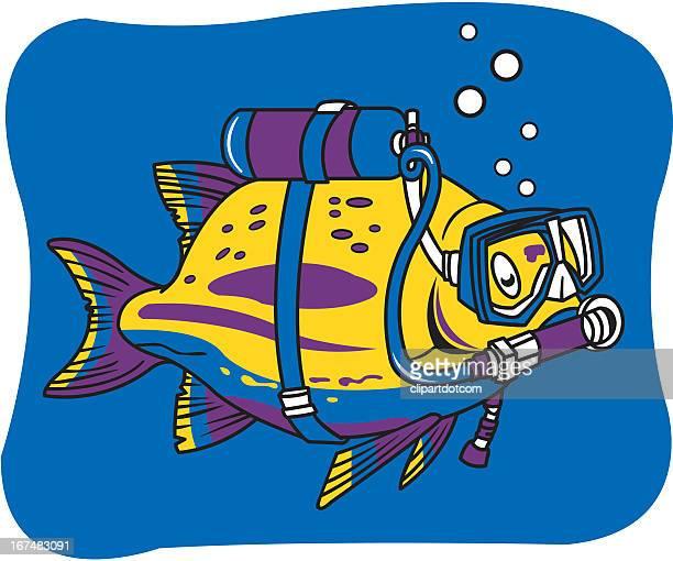 fish with scuba gear. - scuba mask stock illustrations