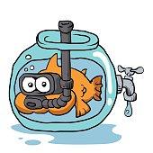 fish with snorkel in the aquarium