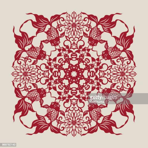 illustrations, cliparts, dessins animés et icônes de fish(chinese traditional paper-cut art)-03 - poisson rouge