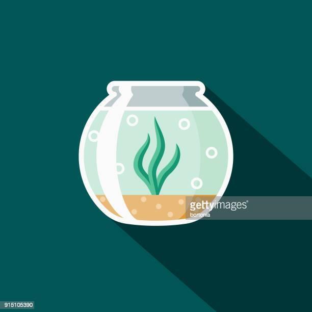 fishbowl flat design pet care icon - fishbowl stock illustrations, clip art, cartoons, & icons