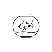 Fishbowl hand drawn sketch icon