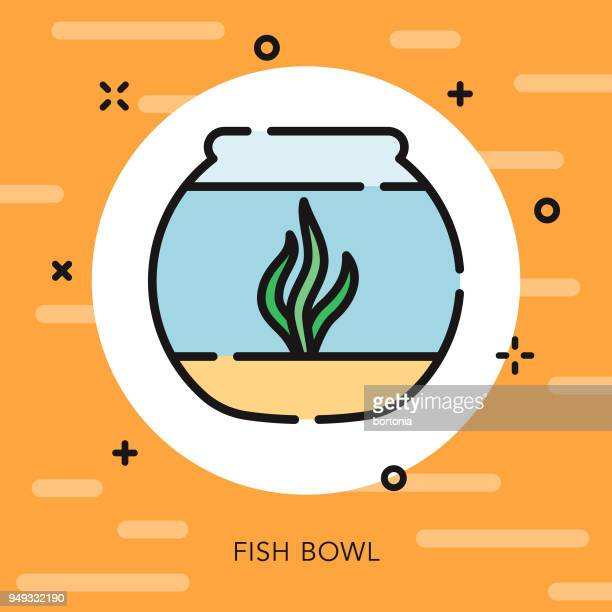 fishbowl open outline pet supples icon - fishbowl stock illustrations, clip art, cartoons, & icons