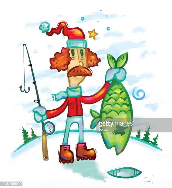 fisher - ice fishing stock illustrations