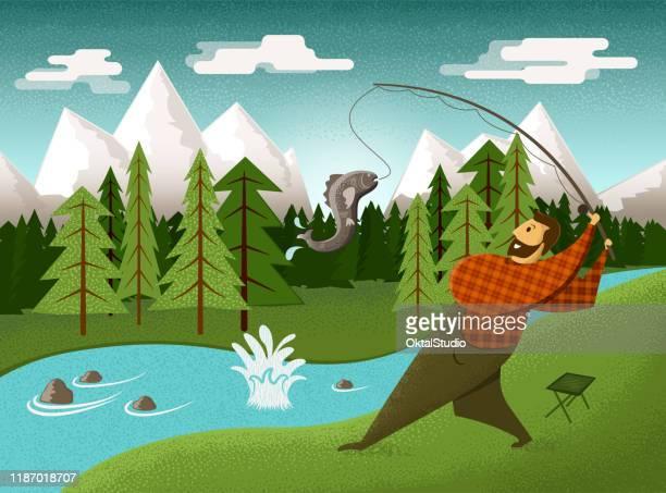 illustrations, cliparts, dessins animés et icônes de pêcheur par la rivière - prise de vue en extérieur