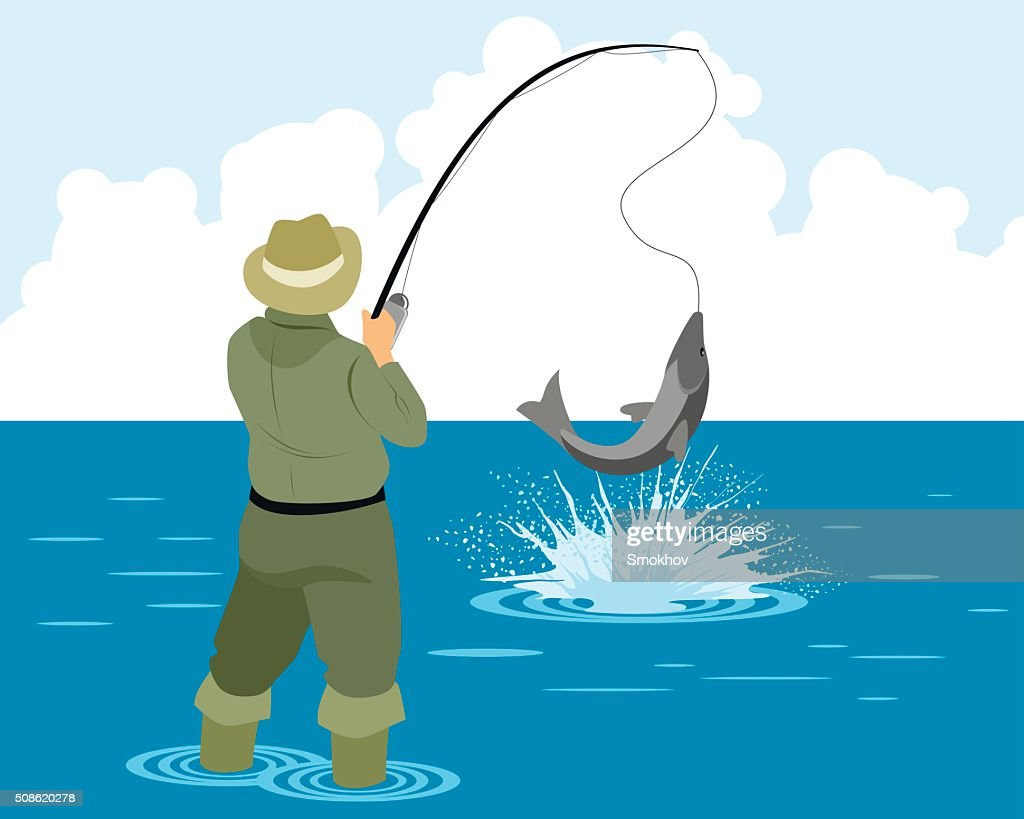 Fisherman catches pike : Vector Art