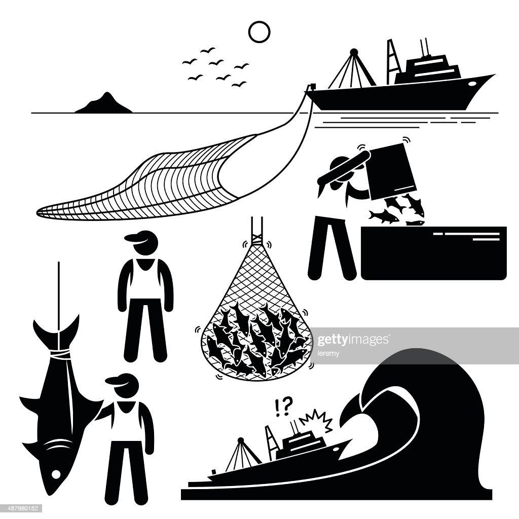 Fisherman Fishery Industry Industrial Pictogram