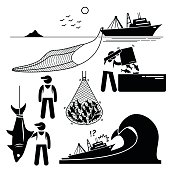 Fisherman Fishery Industry Industrial Pictogram