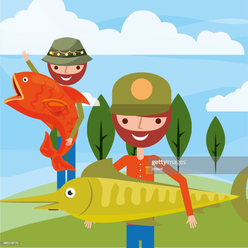 fisherman fishing cartoon