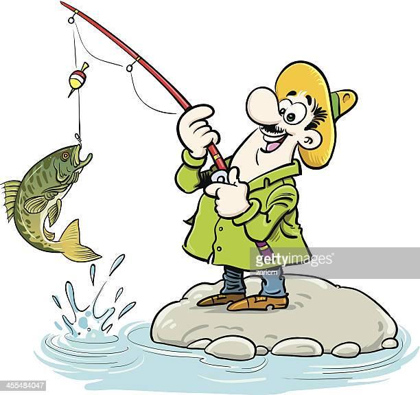 illustrations, cliparts, dessins animés et icônes de pêcheur - carpe