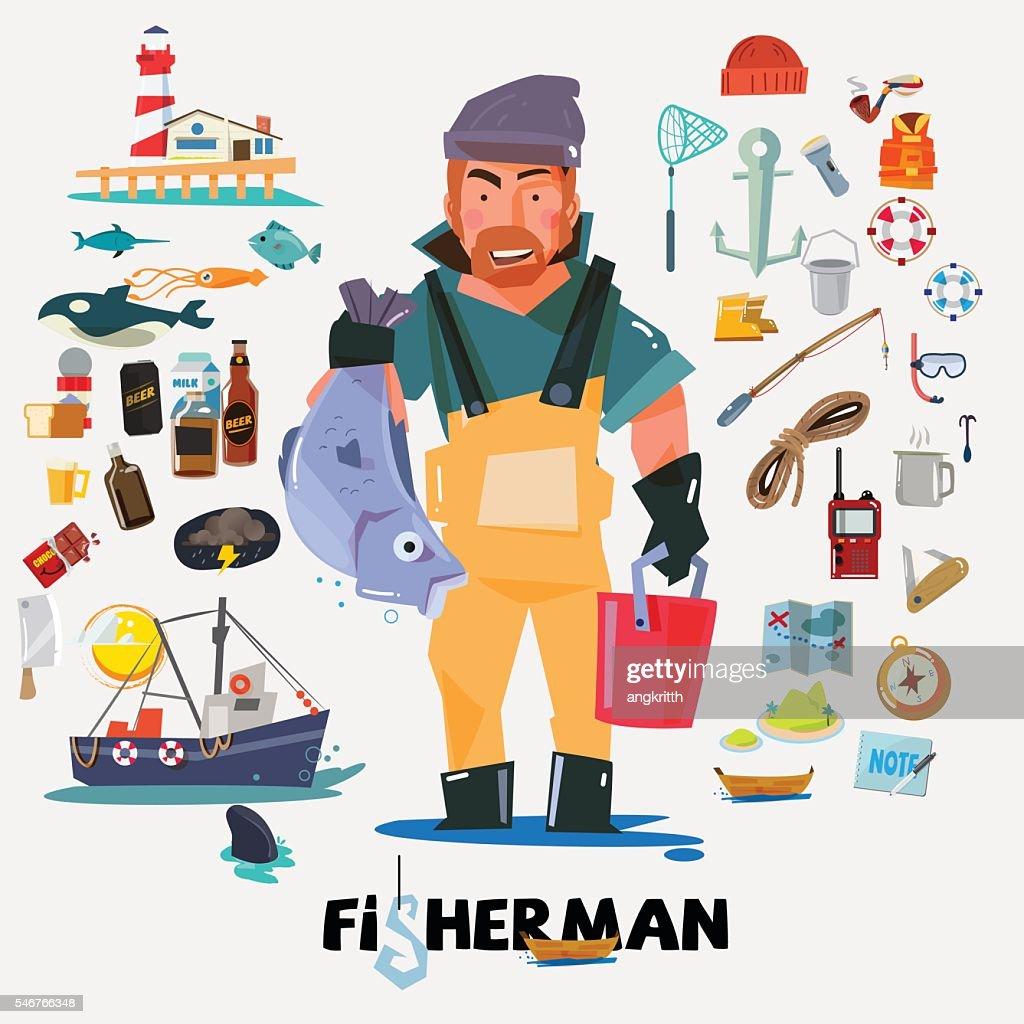 fisherman with big fish in hand. fishery icon set