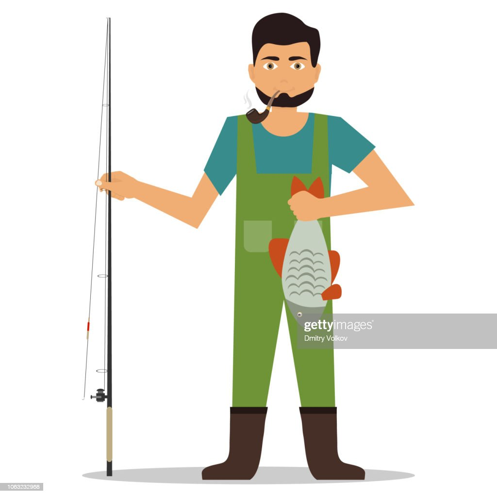 Fisherman with caught fish. Fisherman holds caught fish. Flat design, vector.
