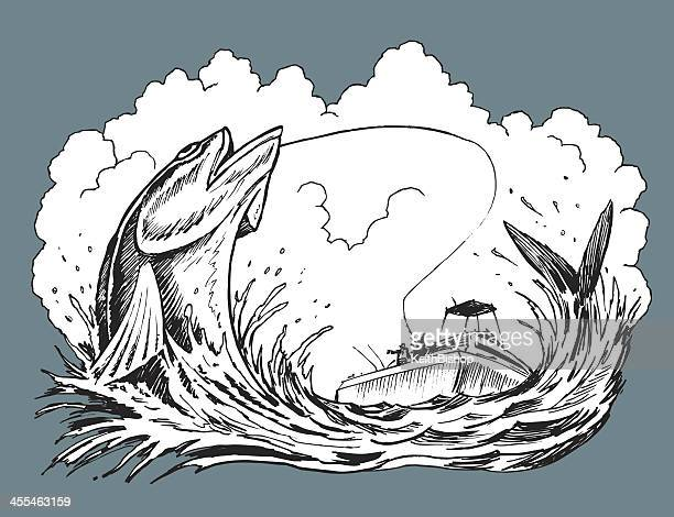 fishermen catching fish on fishing boat - motorboating stock illustrations, clip art, cartoons, & icons