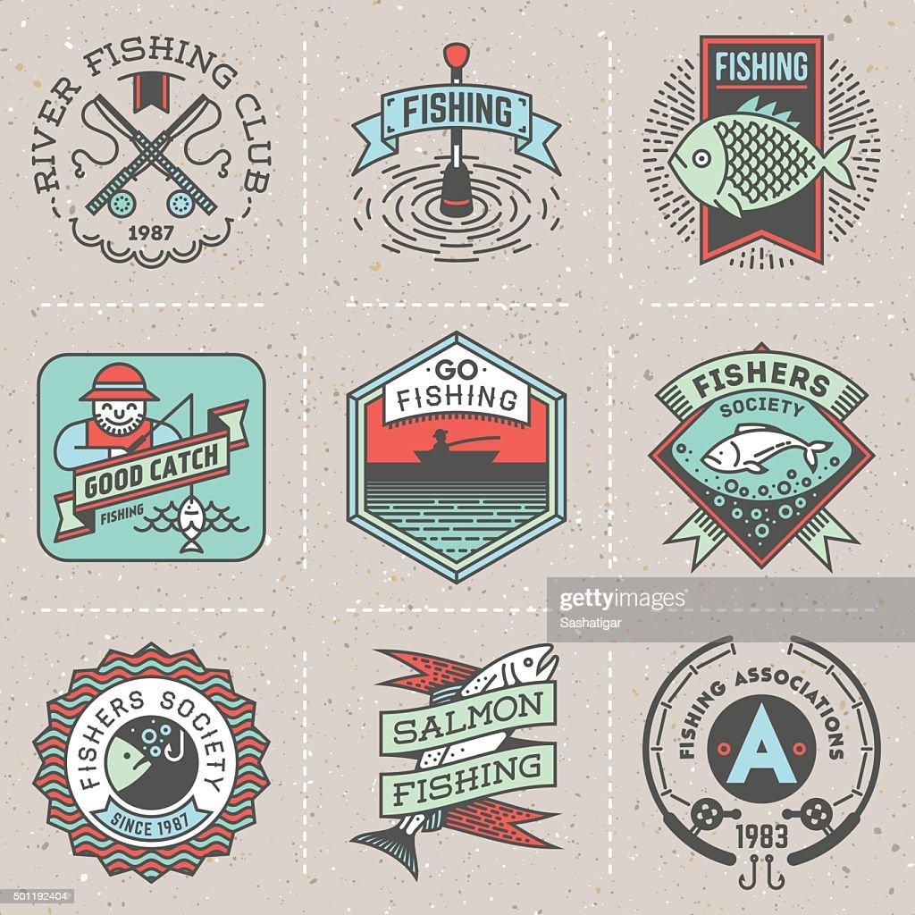 Fishing Assorted Retro Design Insignias Color Logotypes Set.