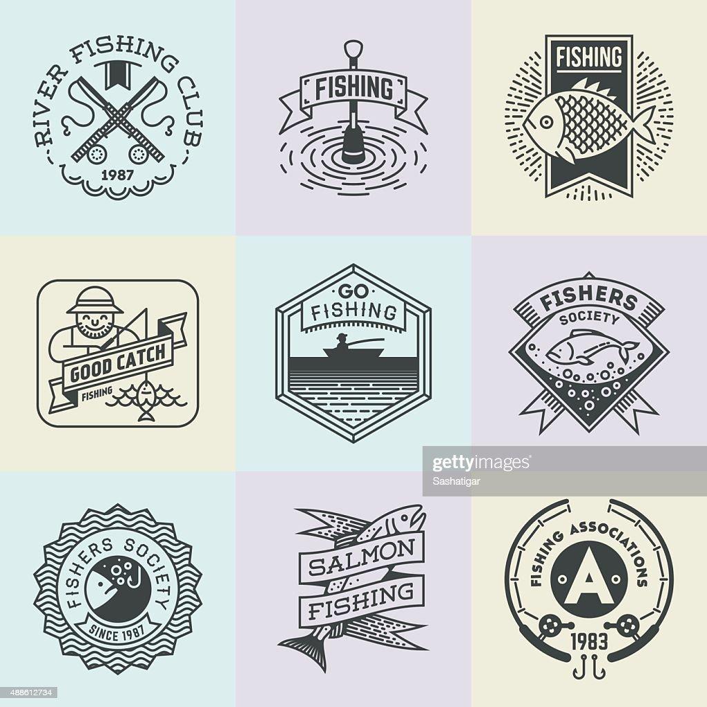 Fishing Assorted Retro Design Insignias Logotypes Set.