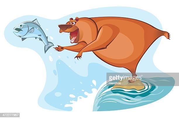 illustrations, cliparts, dessins animés et icônes de ours de pêche - ours