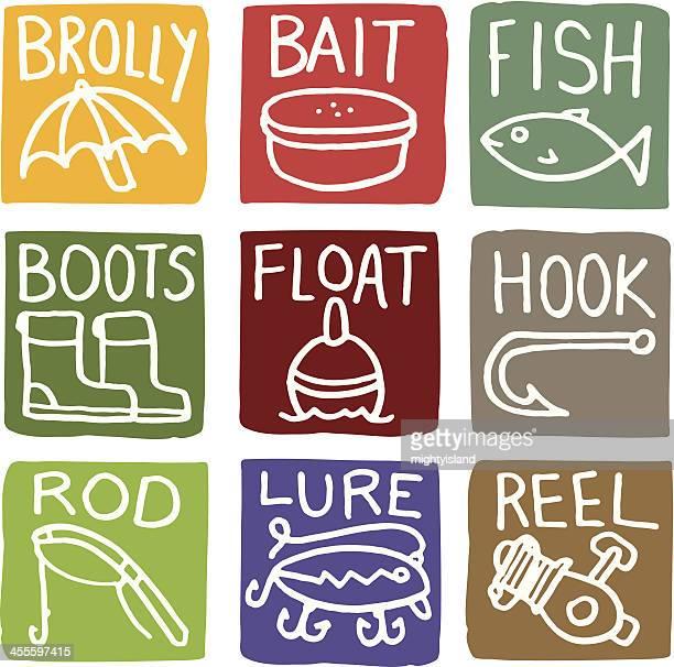 Fishing block icon set with type