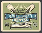 Fishing boat and canoe rental vector retro poster