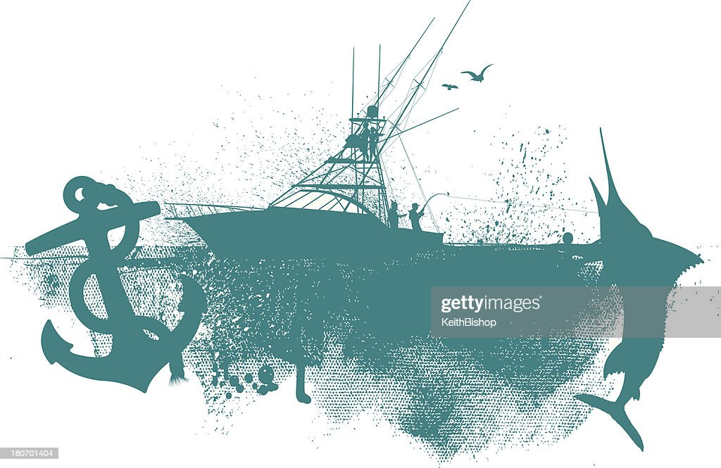 Fishing Boat Graphic Anchor Fish Background Vector Art