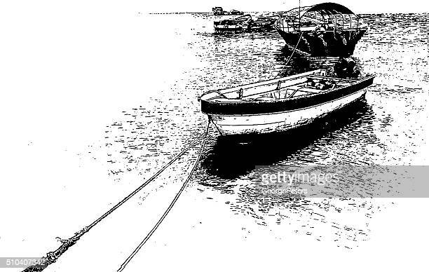 fishing boats at the mercado de mariscos fish market - panama city stock illustrations, clip art, cartoons, & icons