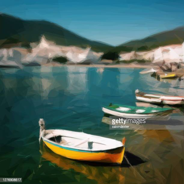 fishing boats on the beach - tranquil scene stock illustrations
