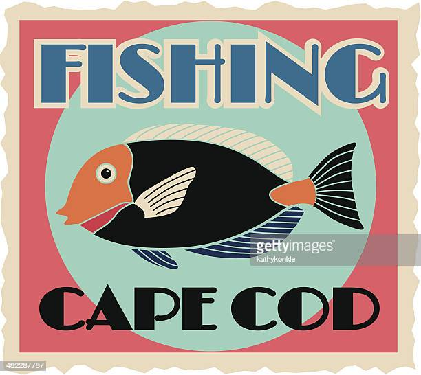 Fishing Cape Cod travel sticker or luggage label