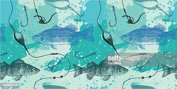 fishing design - bass fishing stock illustrations