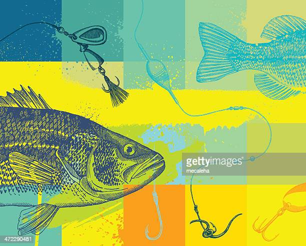 fishing design with line, fly and fish - fishing industry stock illustrations