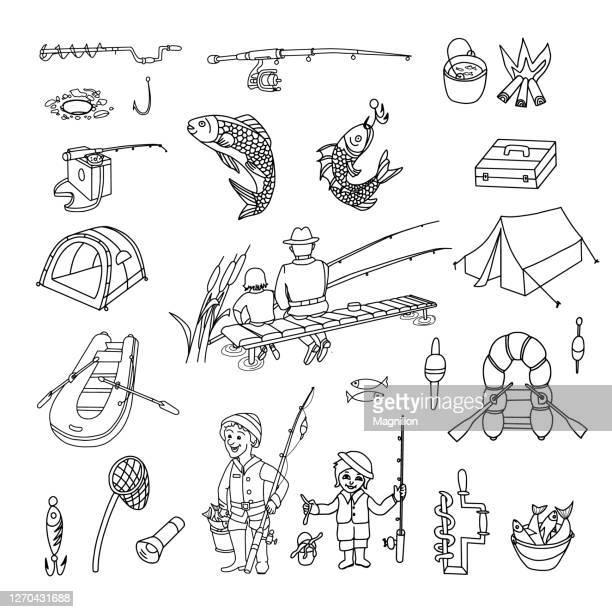 fishing doodle set - lakeshore stock illustrations