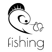 fishing emblem of hook, fishing line and fish