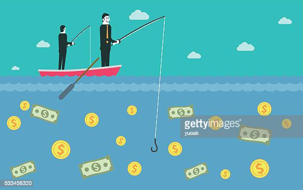fishing for dollars - the grass is always greener stock illustrations, clip art, cartoons, & icons