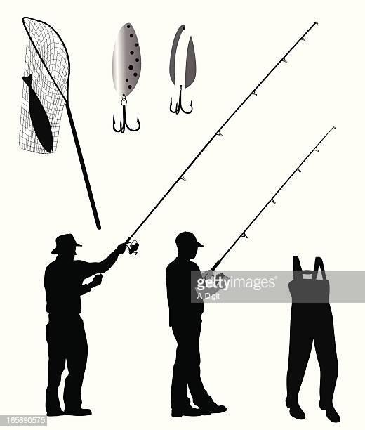 Fishing Gear Vector Silhouette
