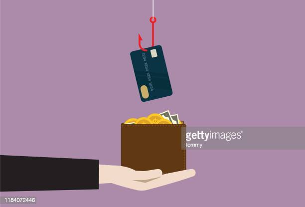 a fishing hook stealing credit card from a wallet - corporate theft stock illustrations