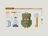 Fishing Hunting Items Flat Design
