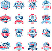 Fishing icon vector fishery icontype with fisherman in boat and emblem with fished fish for fishingclub illustration set isolated on white background