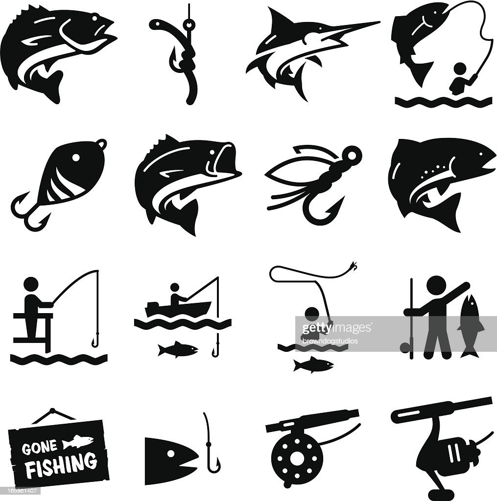 Fishing Icons - Black Series