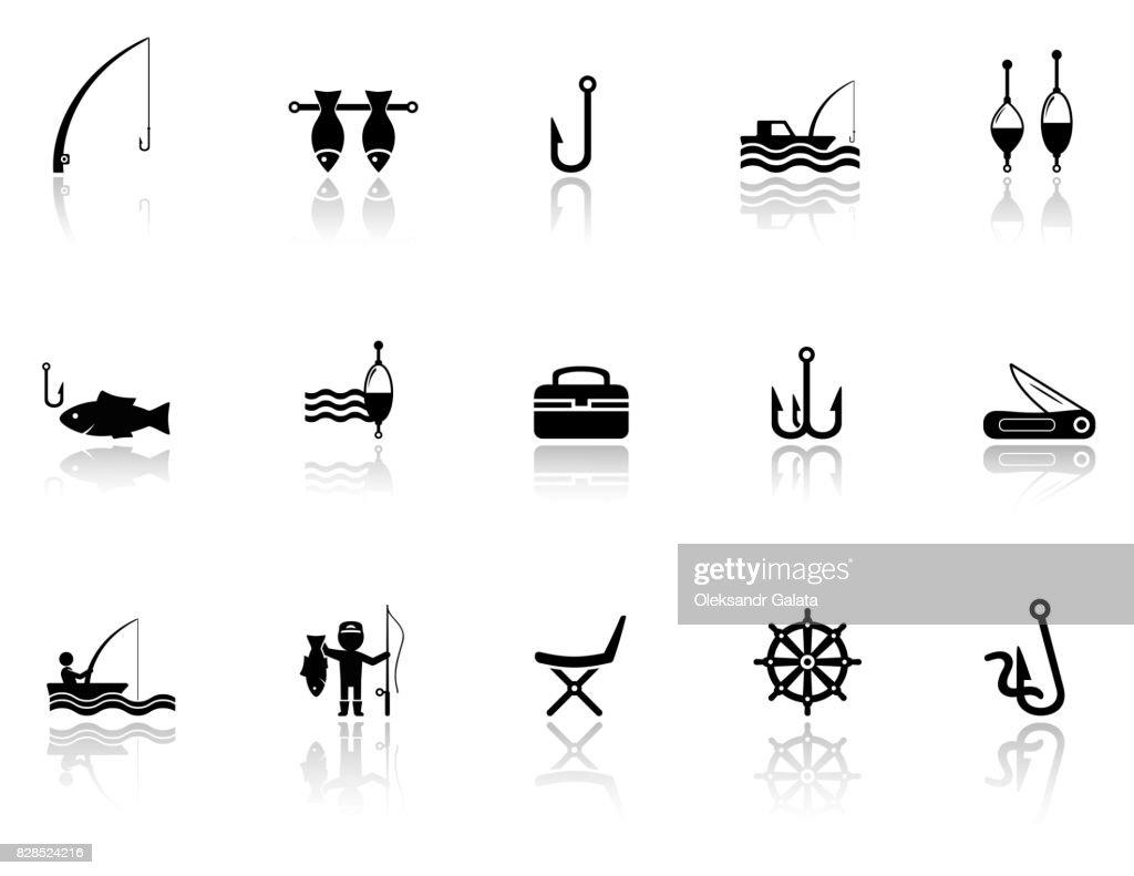 fishing icons set
