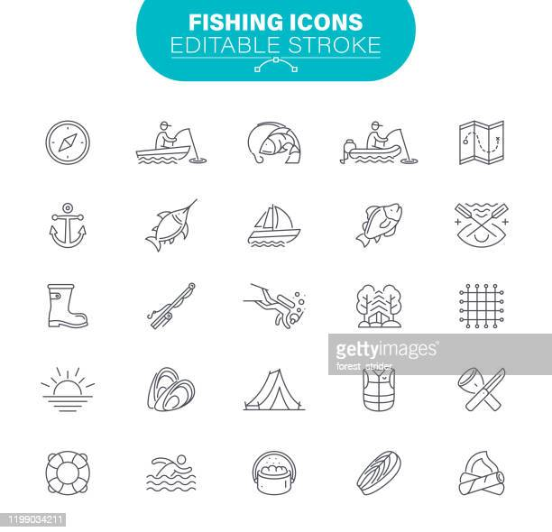 fishing icons - fishing industry stock illustrations