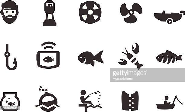 fishing icons - fishbowl stock illustrations, clip art, cartoons, & icons
